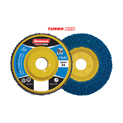 TURBO PRO ABRASIVE FLAP DISC PLASTIC BASE 115