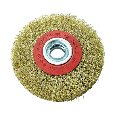 WIRE WHEEL BRUSH,  FOR DOUBLE WHEEL WITH HOLE