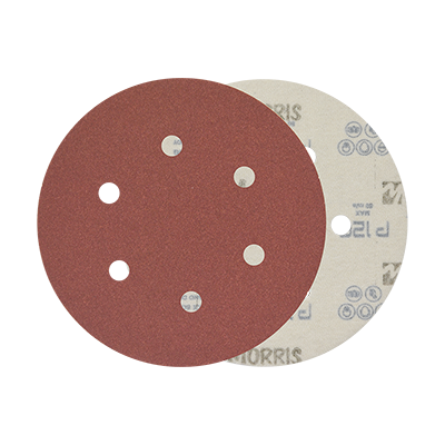 VELCRO DISC RED 150MM,  6 HOLES