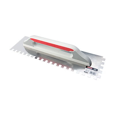 STAINLESS STEEL  SQUARE ADHESIVE TROWEL  WITH PLASTIC HANDLE