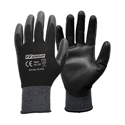 PU PALM COATED GLOVES   WITH POLYESTER KNITTING