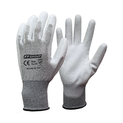 ANTISTATIC PU COATED GLOVES  WITH POLYESTER AND CARBON  FIBER BLEND