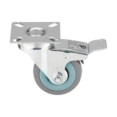 GREY RUBBER SWIVEL CASTER WITH BRAKE